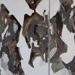 """Chants Binaires n4 "" 190x304 cm ink&acrylic on canvas 2014"